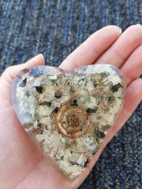 Orgonite Heart - Rainbow Moonstone