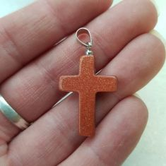 Cross Pendant - Red Goldstone 1pc