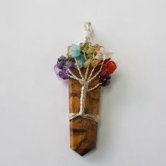 Wire Wrapped Pendant Tree of Life Chakra - Tigers Eye 1pc