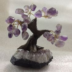 Bonsai Tree on amethyst cluster