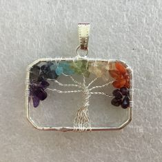 Pendant - Tree of Life - Rectangle 7 Chakra