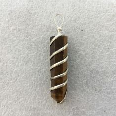Wire Wrapped Point Pendant - Tiger's Eye