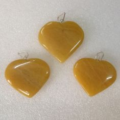 Yellow Av Heart Pendant02 - 1pc