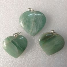 Green Av Heart Pendant02 - 1pc