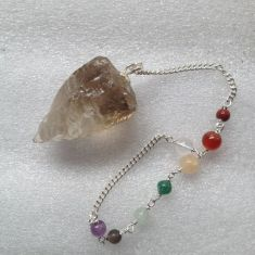 Smoky Quartz Rough Pendulum with Chakra chain