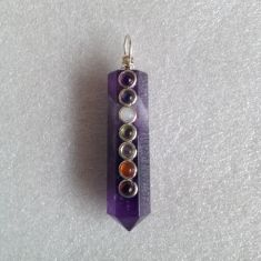 Faceted Amethyst Pendant with Chakra stones