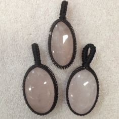 Macrame Pendant - Rose Quartz - 1pc