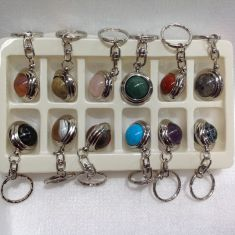 Assorted Stone Ball Keyring Gift Set