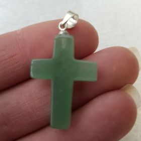 Cross Pendant - Green Aventurine 1pc