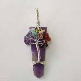 Wire Wrapped Pendant Tree of Life Chakra - Amethyst 1pc