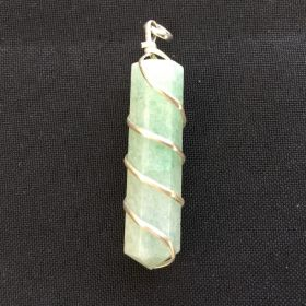 Wire Wrapped Point Pendant - Green Aventurine