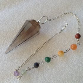 Smoky QTZ Faceted Pendulum with chakra chain