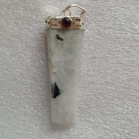 Flat Pendant Rainbow Moonstone with Garnet