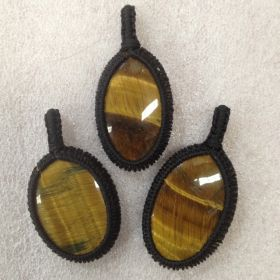 Macrame Pendant - Tigers Eye - 1pc